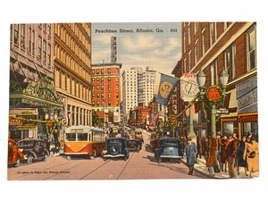 Peachtree Street in Atlanta Georgia. Unused Linen Postcard Circa 1930-1944