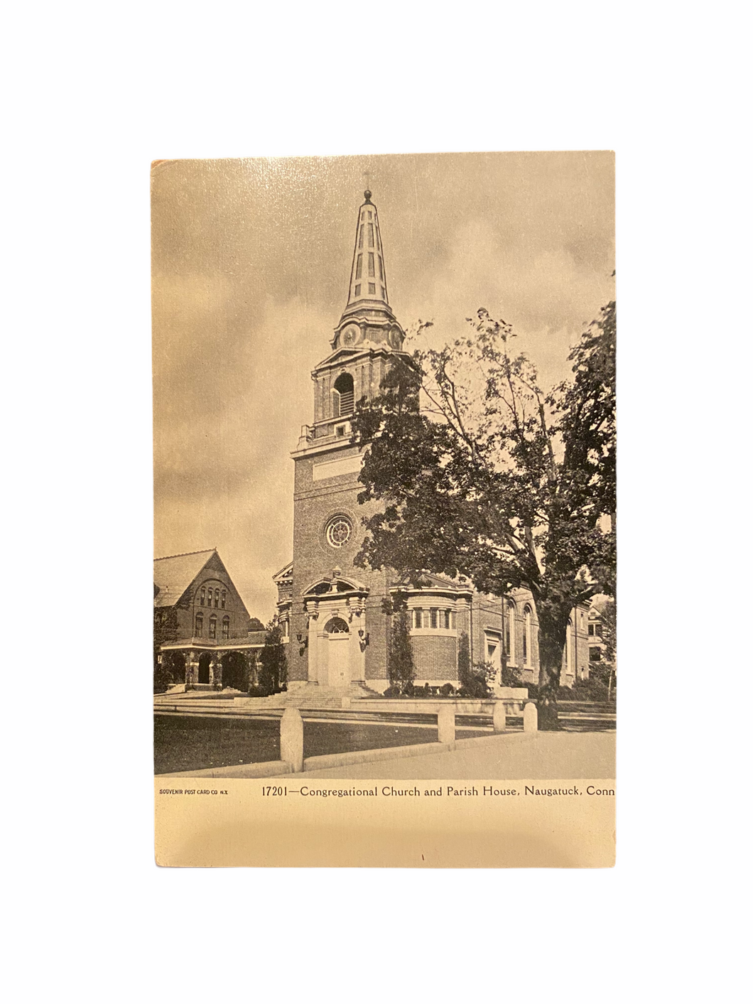 Congregational Church and Parish House, Naugatuck, Connecticut Undivided Back Unused Postcard Circa 1901-1907