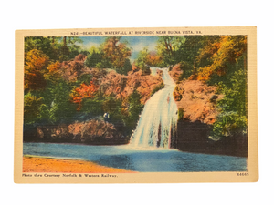 Beautiful Waterfall at Riverside Near Buena Vista, Virginia. Unused Linen Postcard Circa 1930-1944