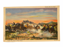 Load image into Gallery viewer, Rustlers Bite the Dust! Cattle War Days in West Texas. Unused Linen Postcard Circa 1930-1944