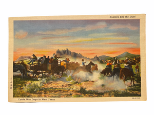 Rustlers Bite the Dust! Cattle War Days in West Texas. Unused Linen Postcard Circa 1930-1944