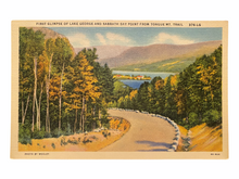 Load image into Gallery viewer, First Glimpse of Lake George and Sabbath Day Point from Tongue Mountain Trail. Unused Linen Postcard Circa 1930-1944