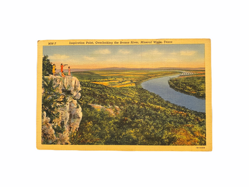 Inspiration Point, Overlooking the Brazos River, Mineral Wells, Texas. Linen Era Postcard Unused