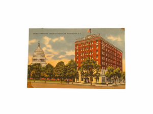 Hotel Commodore. Union Station Plaza, Washington, D.C. Postcard Sent Jan. 1957