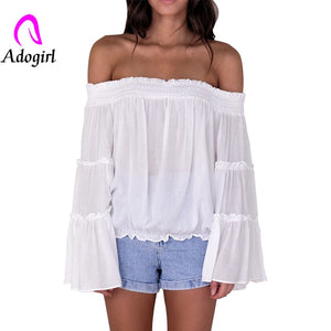 Slash Neck Flare Crop top