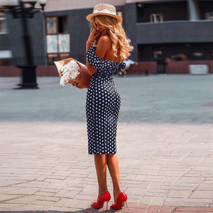 Sexy Off Shoulder Polka Dot Dress Black