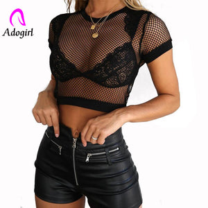 Sexy Mesh Hollow Out Transparent Crop Top