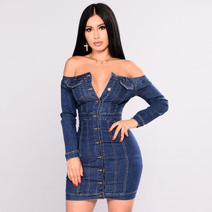 Open Shoulder Long Sleeve Denim Dress
