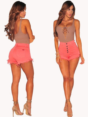 Candy Color Pencil Denim Jeans Shorts