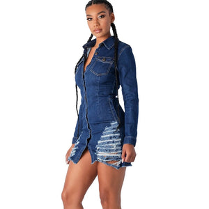 Jeans Denim Buttons Up Dress