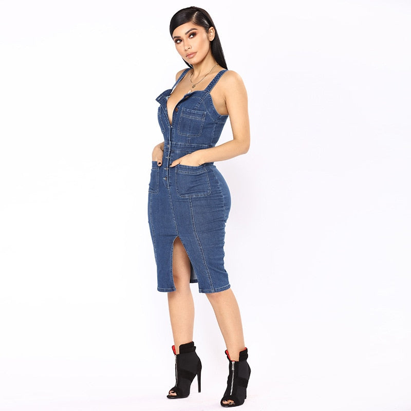 Sleeveless Double Strap Denim Dress