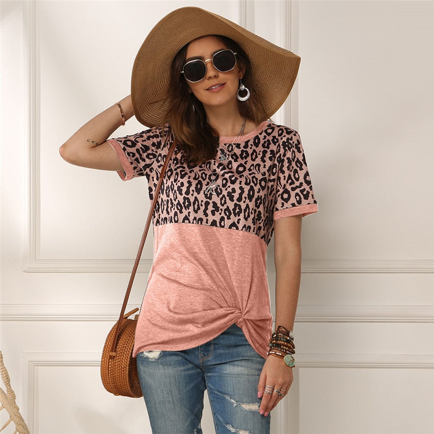 Leopard Pattern Cotton T-shirt