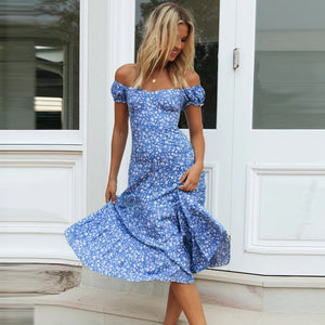 Off Shoulder Vestidos Bohemia Floral Dress