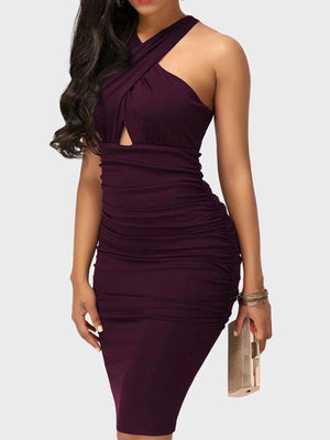 Sensual Criss Cross Solid Colored Club Dress