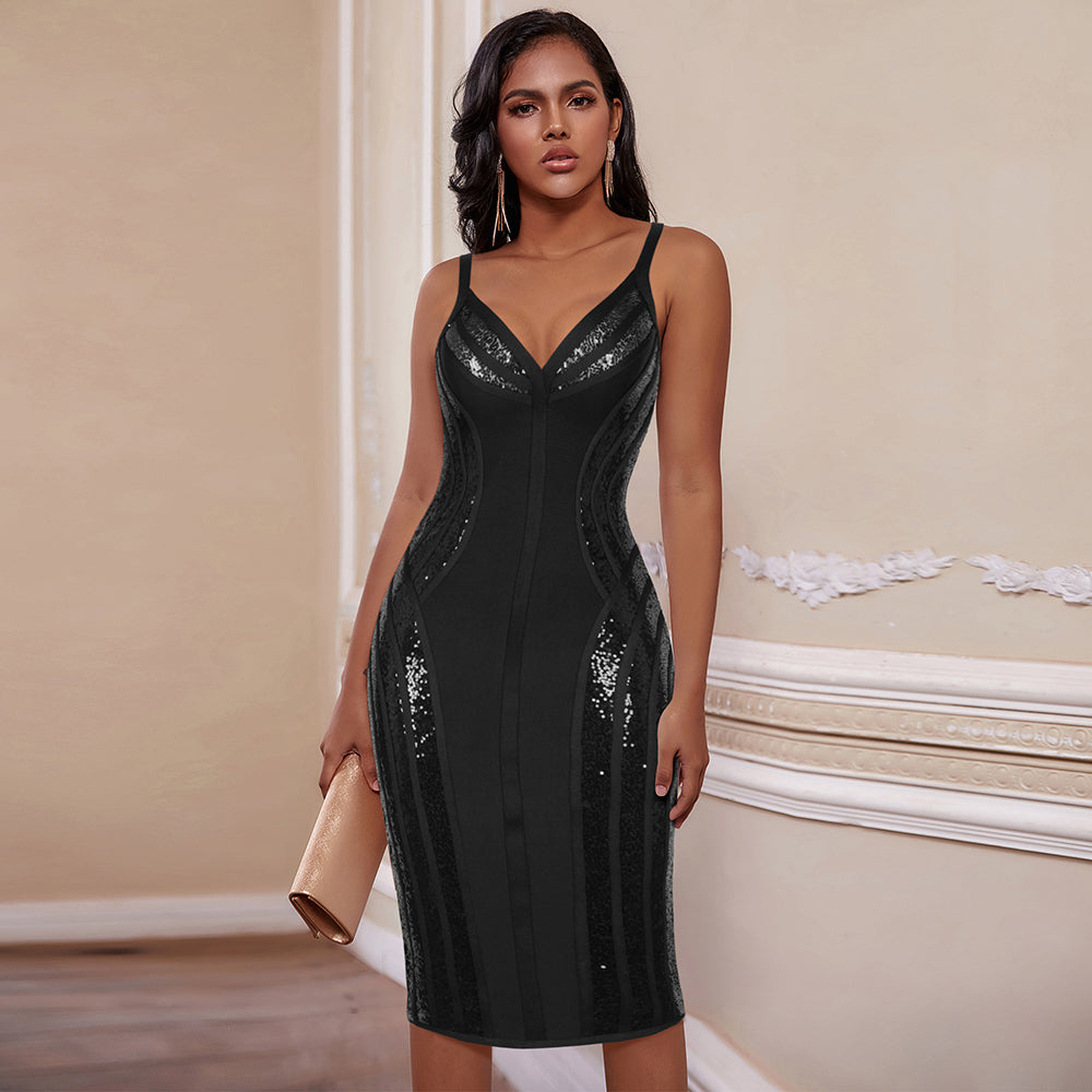 Sexy Black V Neck Evening Party Dress
