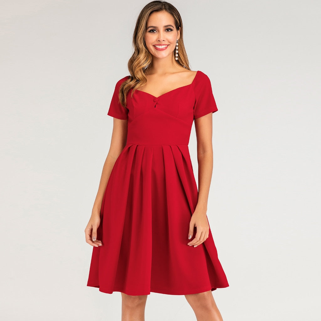 Single Button Shirt Style Red V Neck Dress