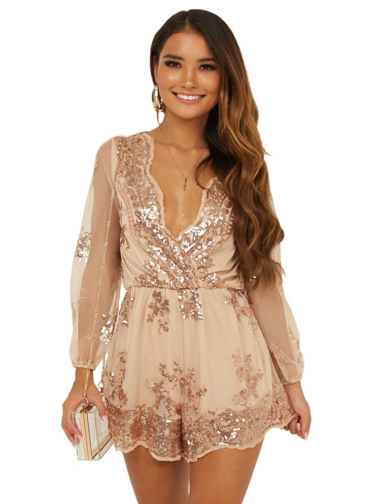Sexy Deep V Neck Long Sleeve Loose Romper