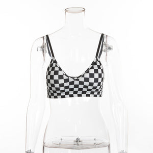 Black and White plaid cami backless crop top