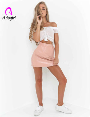 Sexy Slash neck lace up off shoulder women crop top