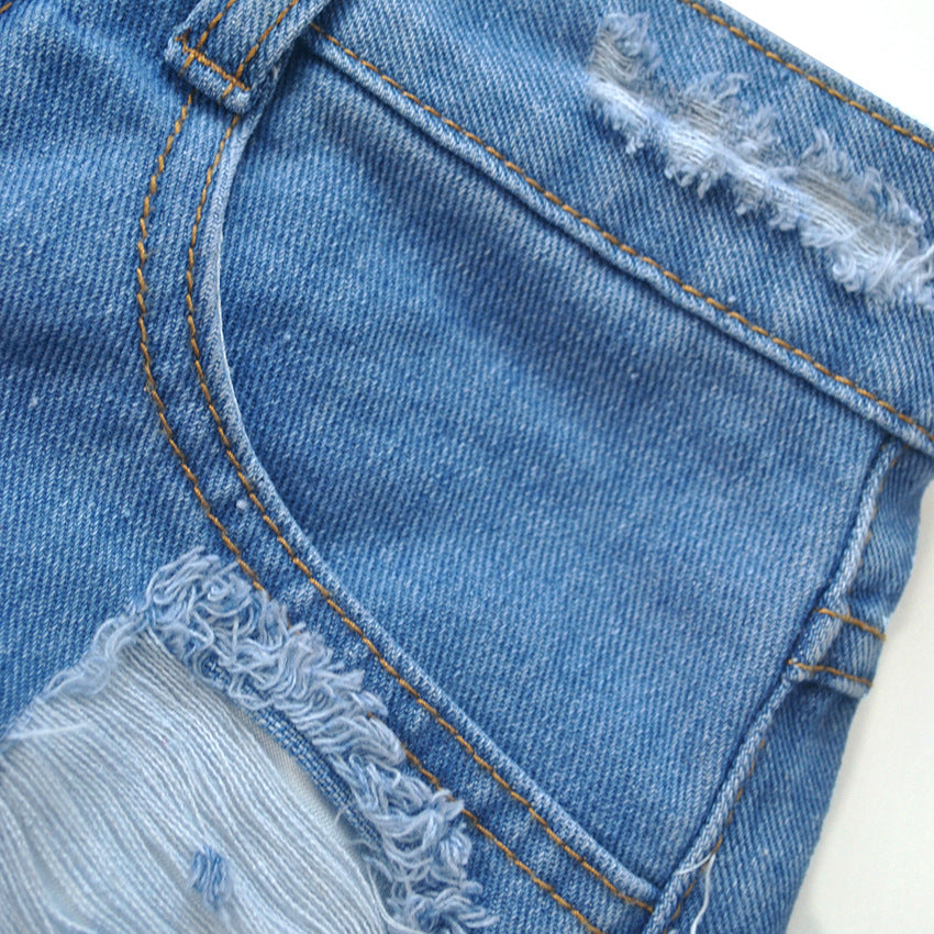 High Waist Hole Denim Shorts