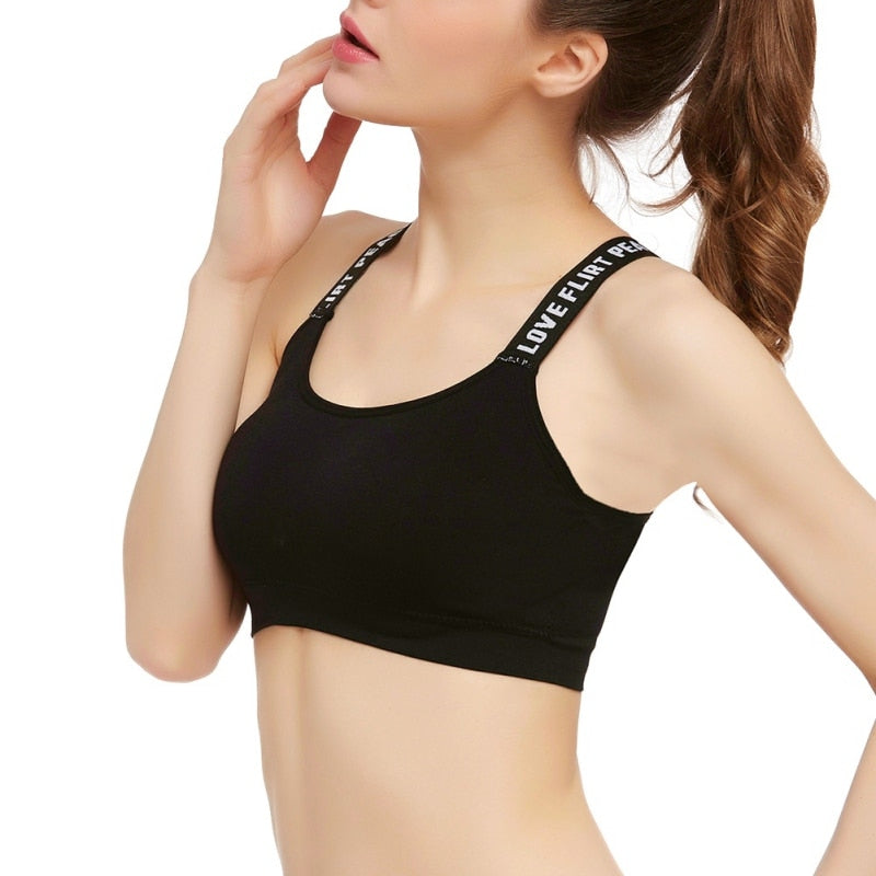 Casual High Stretch Fitness Padded Bra Tank Top Black