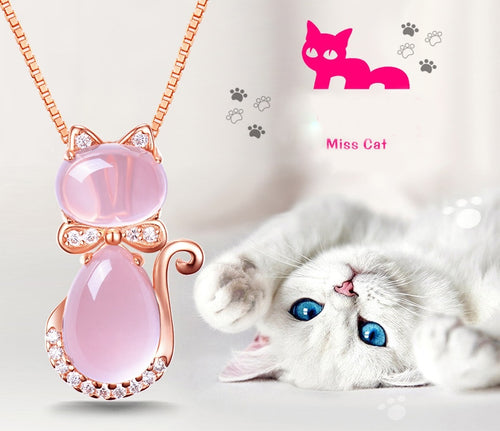 Cute Cat Rose Quartz Pink Opal Jewelry Necklace for Women Girls Children Gift