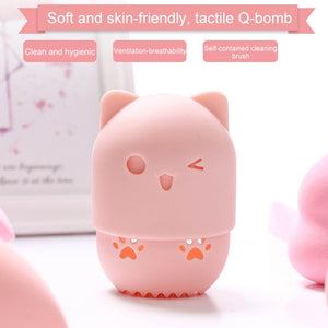 Cat Shape Silicone Makeup Sponge Holder Potable Cosmetic