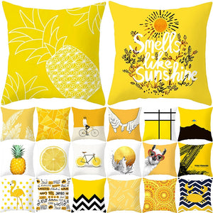 Pineapple Leaf Yellow Decorative Pillowcase Pineapple Yellow
