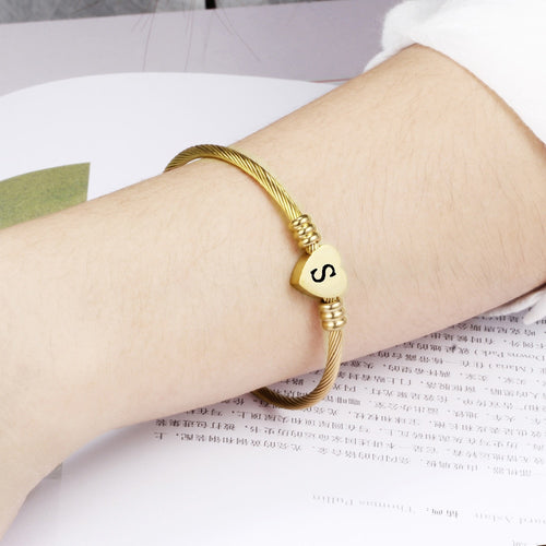 Heart Bracelet Bangle With Letter Fashion Initial Alphabet Charms Bracelets For Women