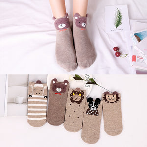 5Pairs Spring New Arrivl Women Cotton Socks Brown Lion Dogs Cute Animal