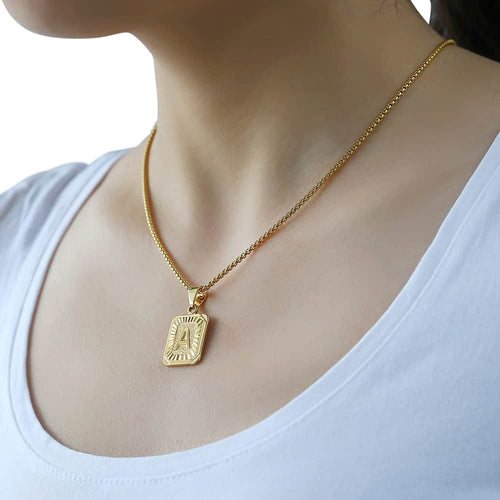 Yellow Gold Initial Letter Pendant Name Necklace