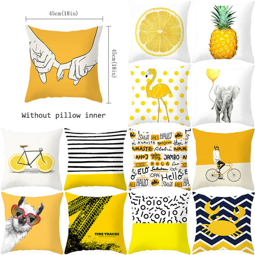 Pineapple Leaf Yellow Throw Pillow Case Yellow Pineapple Decorative Pillowcase Polyester Pillow