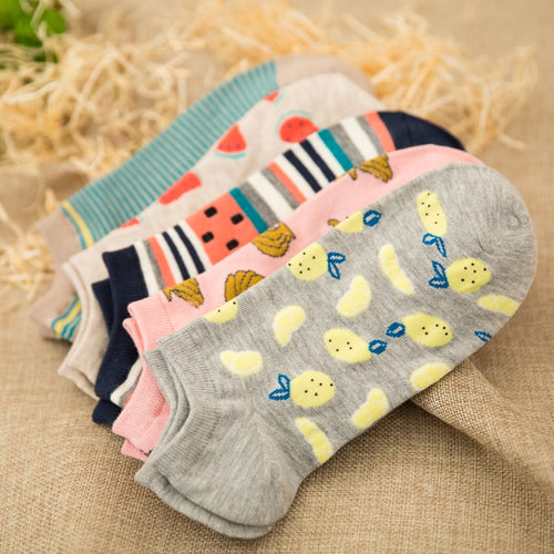 5 Pairs New summer women Ctue Fruits Banana Casual  ankle cotton socks boat sock