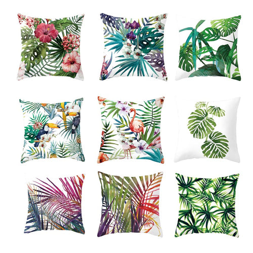 Tropical Plants Pillow Case Polyester Decorative Pillowcases Green Leaves