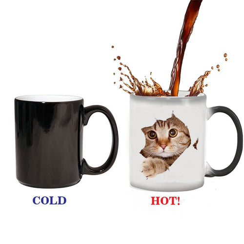 1pc cute cat Coffee Mug cup change Colour Changing Heat Sensitive