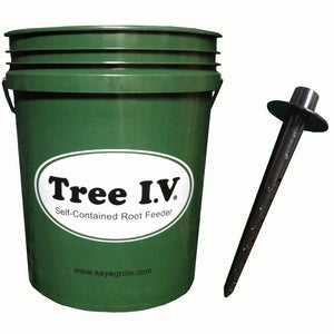 Tree I.V. 5-gallon deep root watering system is a combination of tree watering bags and Ross Root Feeder