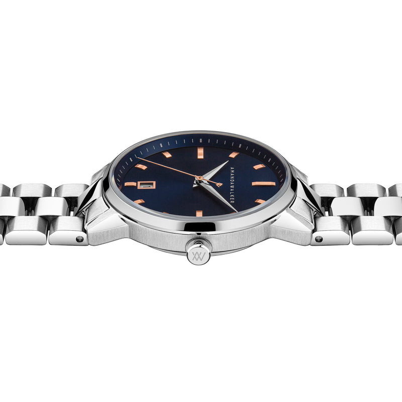 Amelia / 36mm - Silver & Navy Blue Ladies Watch | Amanda Walker Time | UK Free Delivery