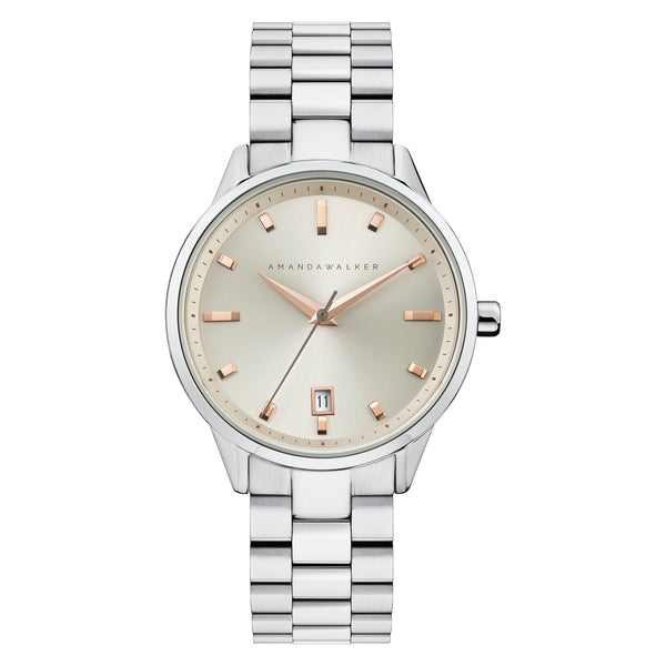 Silver & Rose Gold Ladies Watch Watch - Buy from Amanda Walker Time - UK British Design