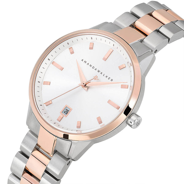 Amelia / 36mm - Silver & Rose Gold Ladies Watch | Amanda Walker Time | UK Free Delivery