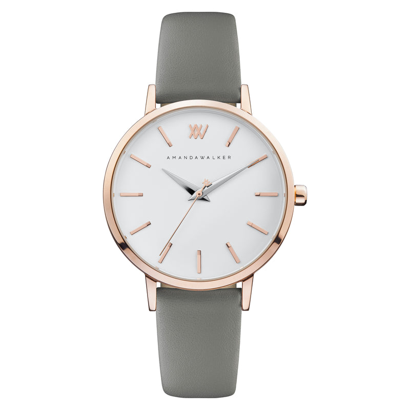 Kate / 36mm - Rose Gold & Grey Watch | Amanda Walker Time | Womens Watch | Free UK Delivery
