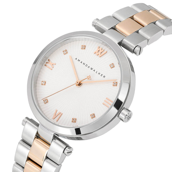 Eva / 34mm - Rose Gold & Silver Ladies Watch | Amanda Walker Time | Free UK Delivery