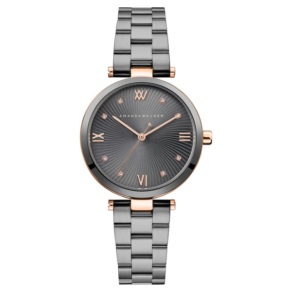 Eva / 34mm - Rose Gold & Gun Metal Ladies Watch | Amanda Walker Time | Free UK Delivery