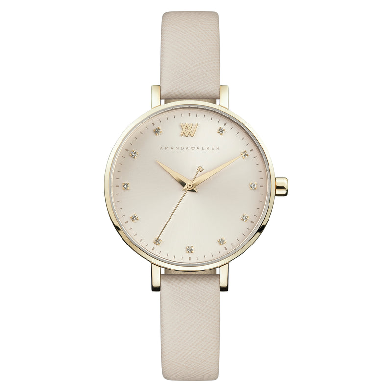 Florence  / 35mm - Gold & Nude Watch | Amanda Walker Time | Free UK Delivery