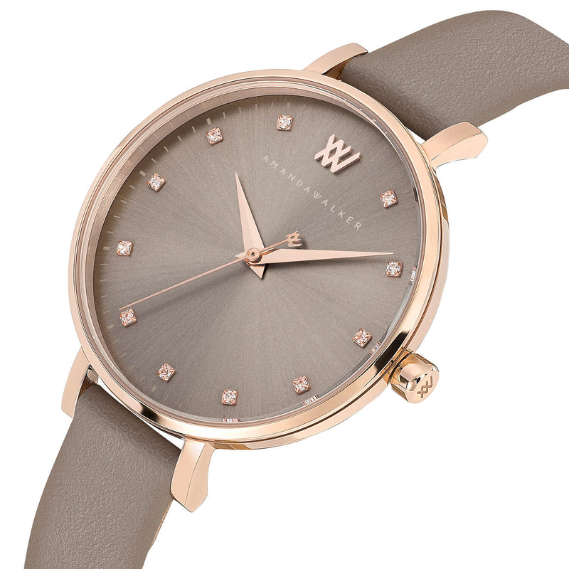 Florence  / 35mm - Rose Gold & Taupe Watch | Amanda Walker Time | Free UK Delivery