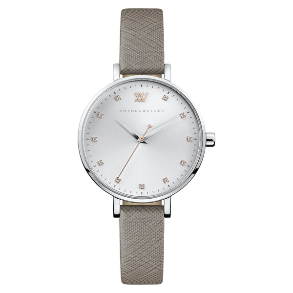 Florence  / 35mm - Silver & Grey Womens Watch | Amanda Walker Time | Free UK Delivery
