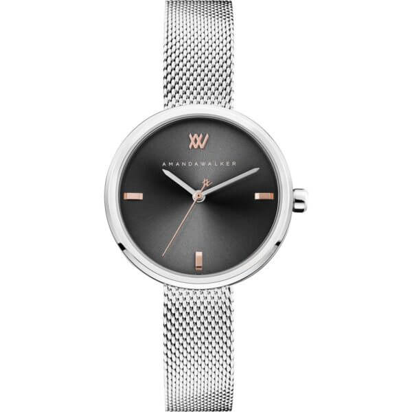 Rose / 31mm - Silver & Black Watch | Amanda Walker Time | Womens Watch | Free UK Delivery