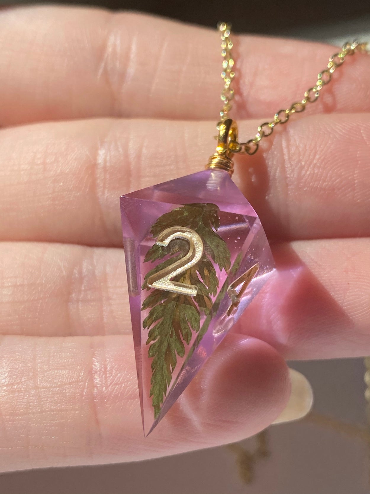 Baby Fern D4 Necklace - Lilac