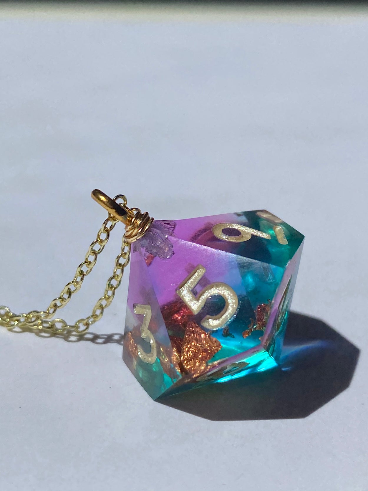 Gilded Fluorite D10 Necklace