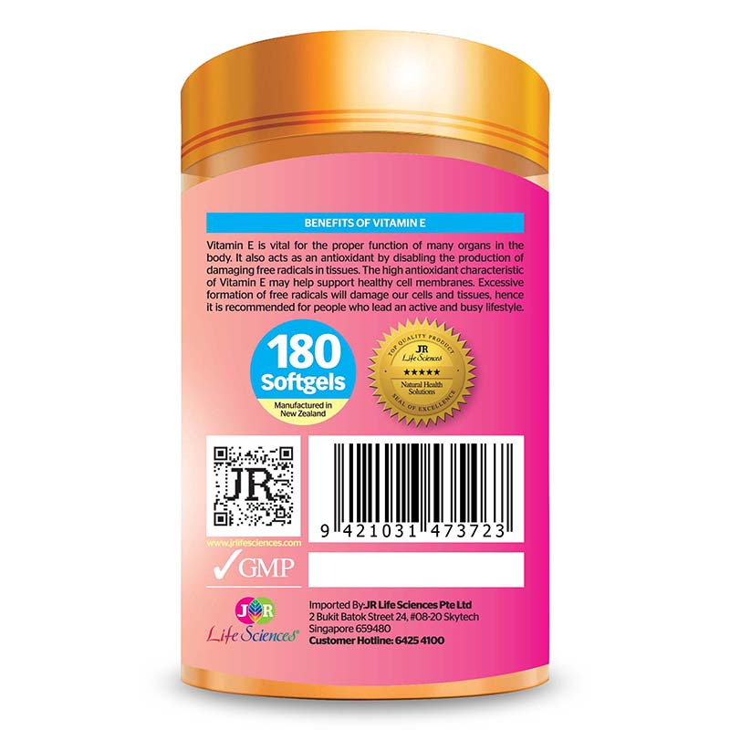 JR Life Sciences Natural Source Vitamin E400 (180 Softgels)