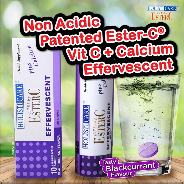 HolistiCare Ester C Effervescent - Blackcurrant (10 Tablets)